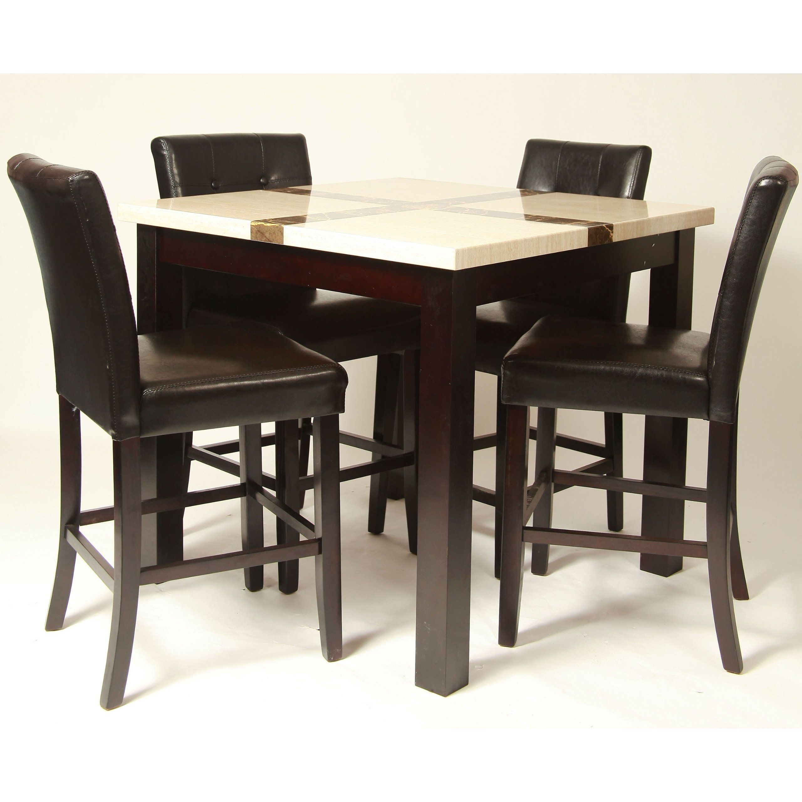 All Wood Dining Room Sets: 5 Piece Artificial Light Oak Marble Bar Set , Table With 4