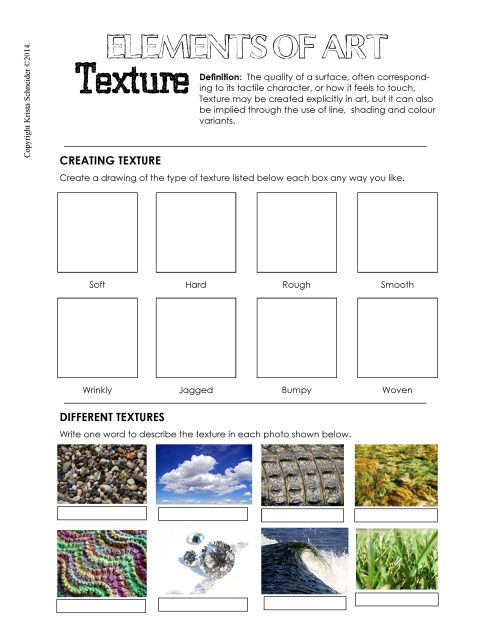 texture worksheet example art education essentials. Black Bedroom Furniture Sets. Home Design Ideas