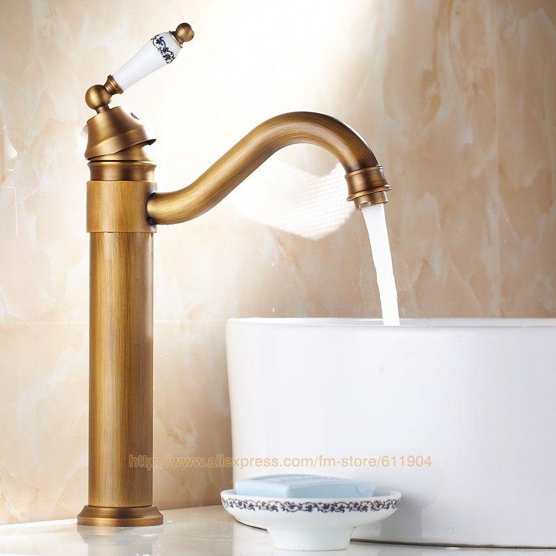 Antique Brass Bathroom Faucet Classic Lavatory Bath Basin Sink Tall ...