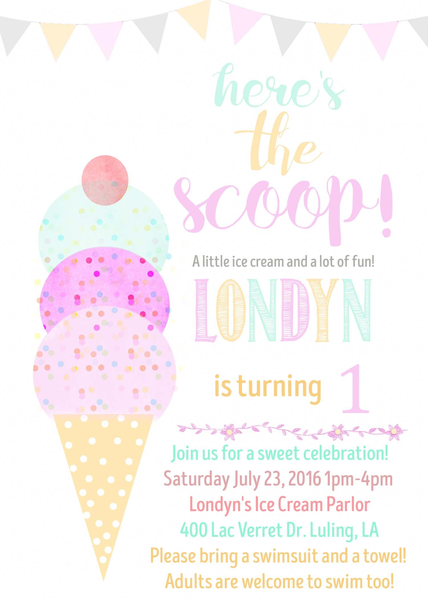 Ice Cream Birthday Invitation Water Color Cone