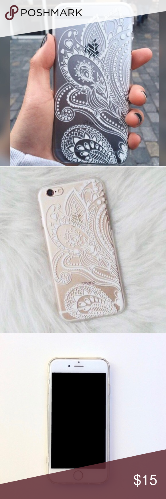 Henna iPhone 7 case New. Soft bendable material. Henna white design on clear case. No trades. Price is negotiable. Accessories Phone Cases