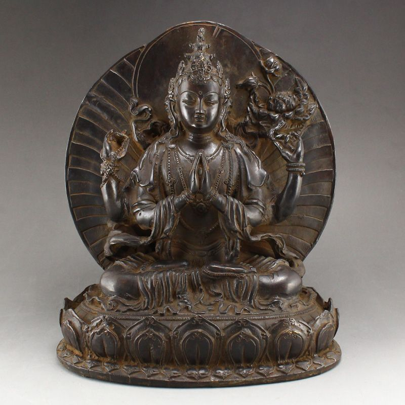 Antiques Chinese Brass Tibetan Buddhism Handwork Carved