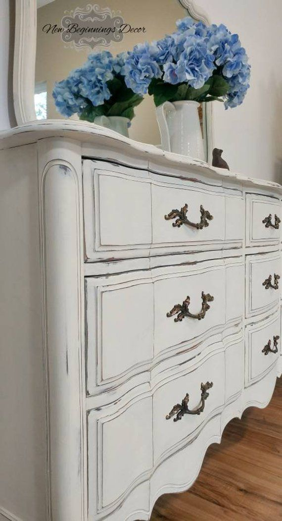Vintage Dresser With Mirror Broyhill Annie Sloan Chalk Painted Old White French Provincial Furniture