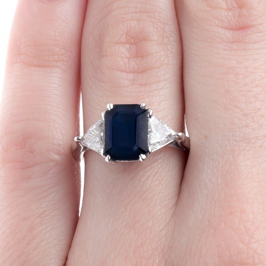 Exceptional Sapphire Ring with Trillion Cut Diamonds | Wyton ...