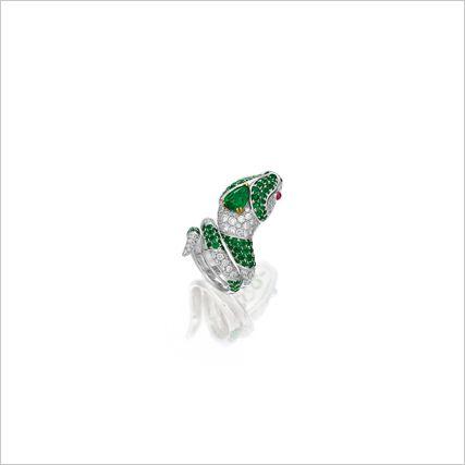 emerald and diamond snake ring