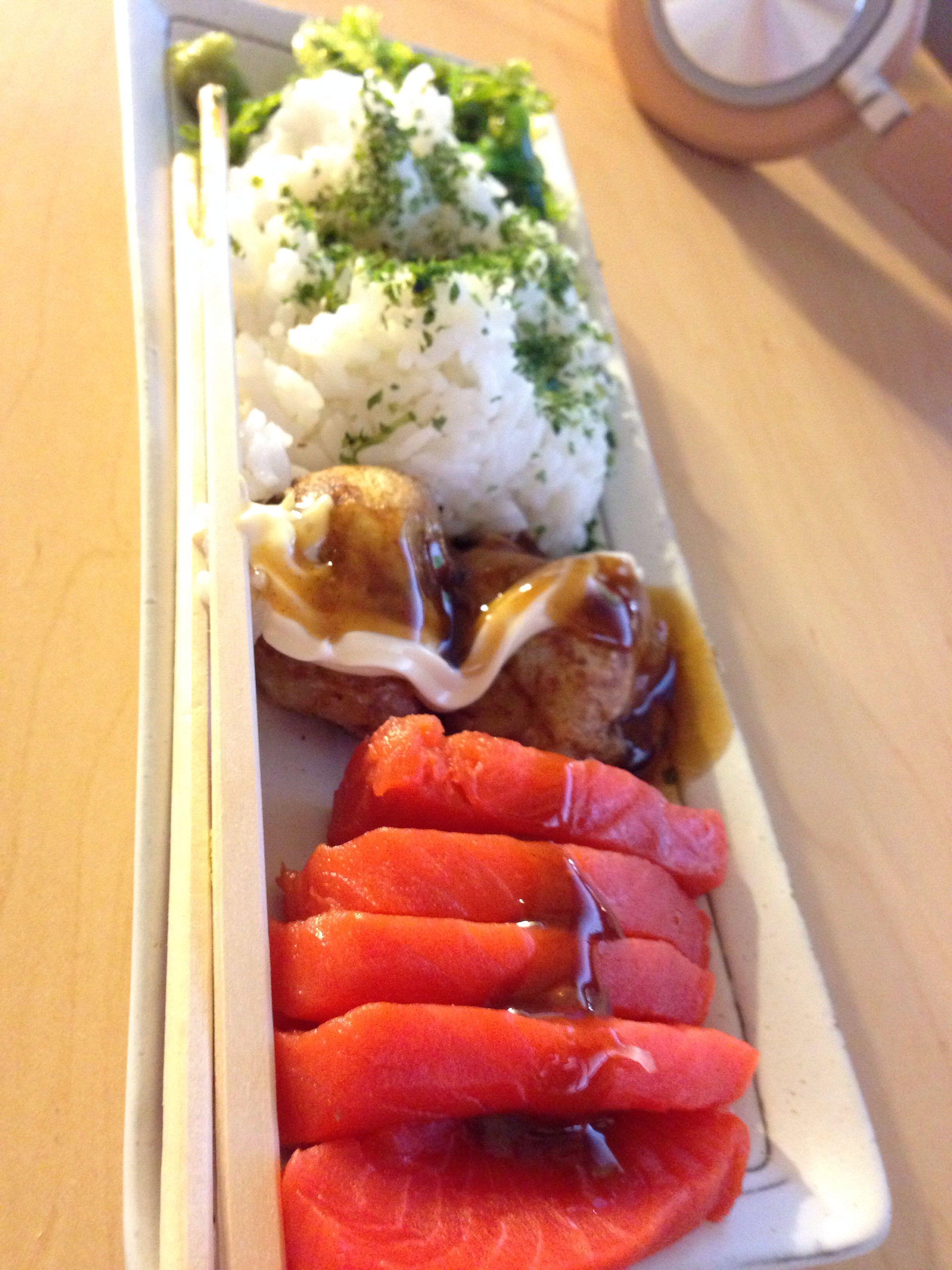 Takoyaki,  Sockeye Sashimi, and Rice that I threw together in the office.