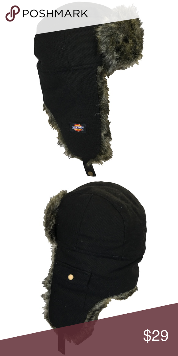 6e91332a4 Dickies Trapper Hat Black Cold Weather Hat SHOW OLD MAN WINTER WHO'S ...
