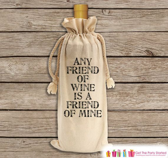 Wine Gift Bag Friend Of Wine Canvas Wine By Getthepartystarted Canvas Wine Bag Funny Wine Gifts Wine Gift Bag
