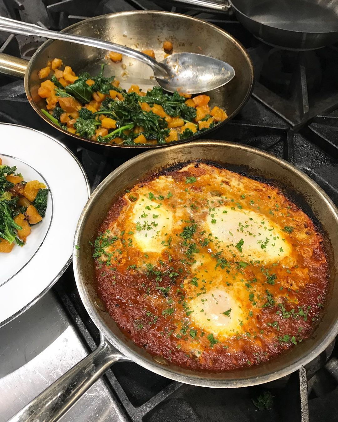 Made Shakshuka for lunch!  Eggs poached in spicy tomato sauce. Perfect for brunch! . .  Made Shakshuka for lunch!  Eggs poached in spicy tomato sauce. Perfect for brunch! . .