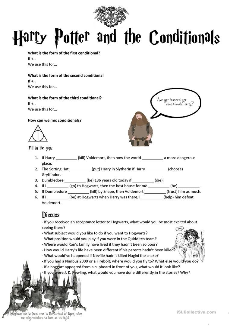 Conditionals Second Third Mixed With Harry Potter English Esl Worksheets For Distance Learning And Physical Worksheets Free Teachers Printable Worksheets [ 1079 x 763 Pixel ]