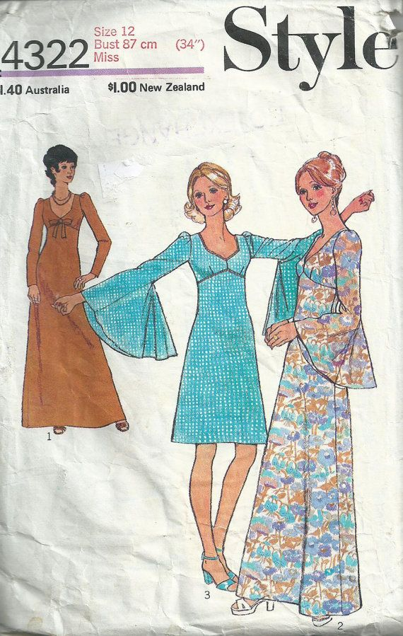 style+1827+maxi+dress+pattern+1980s | Maxi Dress With Bell Sleeves - 1974 - Style Pattern No.4322