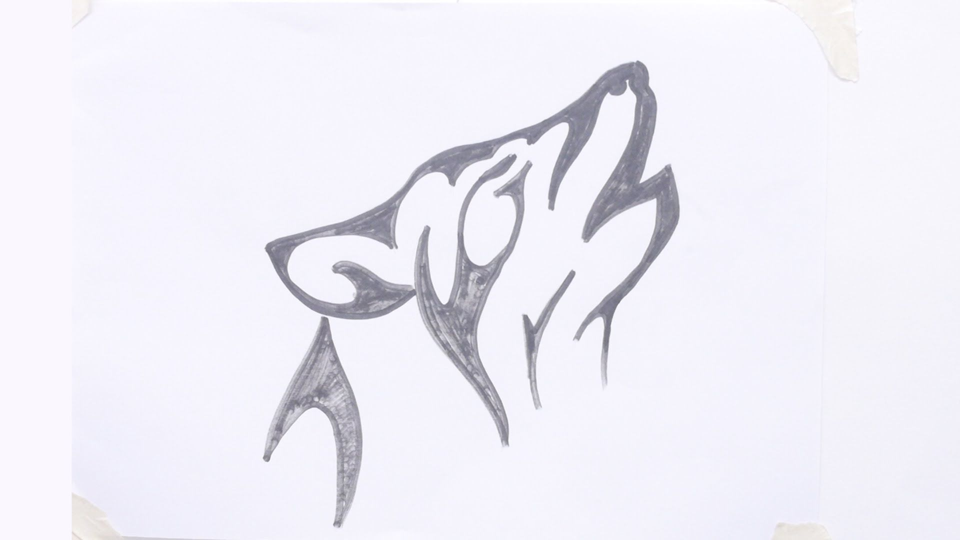 6434bea95 How to draw a wolf head tribal tattoo #3 | How to draw a tribal wolf ...