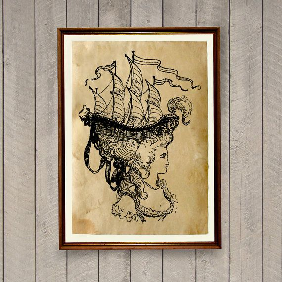 Handmade nautical home decor. Ship print for home and office. Nice antique poster printed on hand-aged paper. SIZE: 8.3 x 11.7 inches (A4 size)  Paper