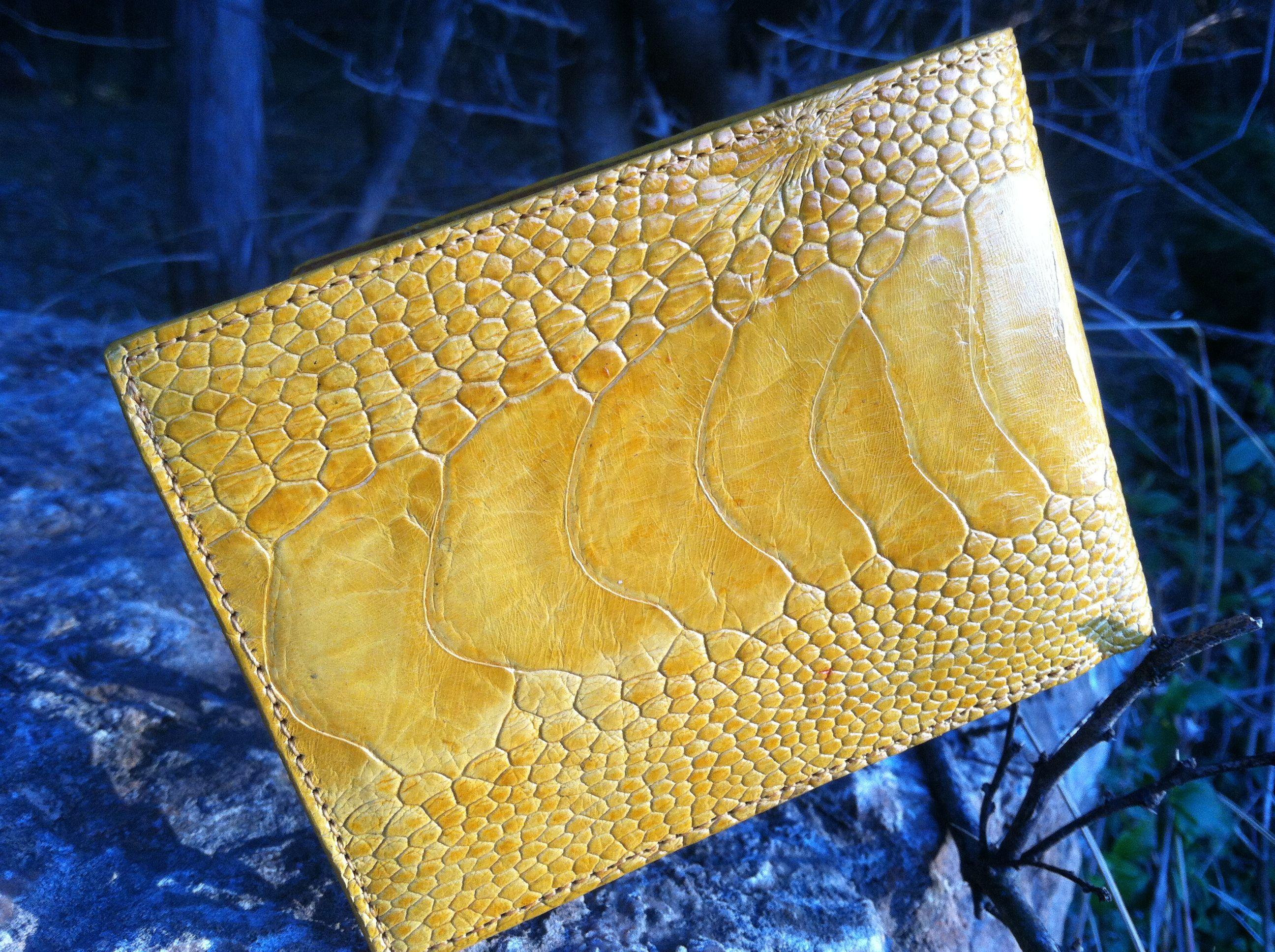Genuine Ostrich Foot Skin Wallet for Men in Yellow