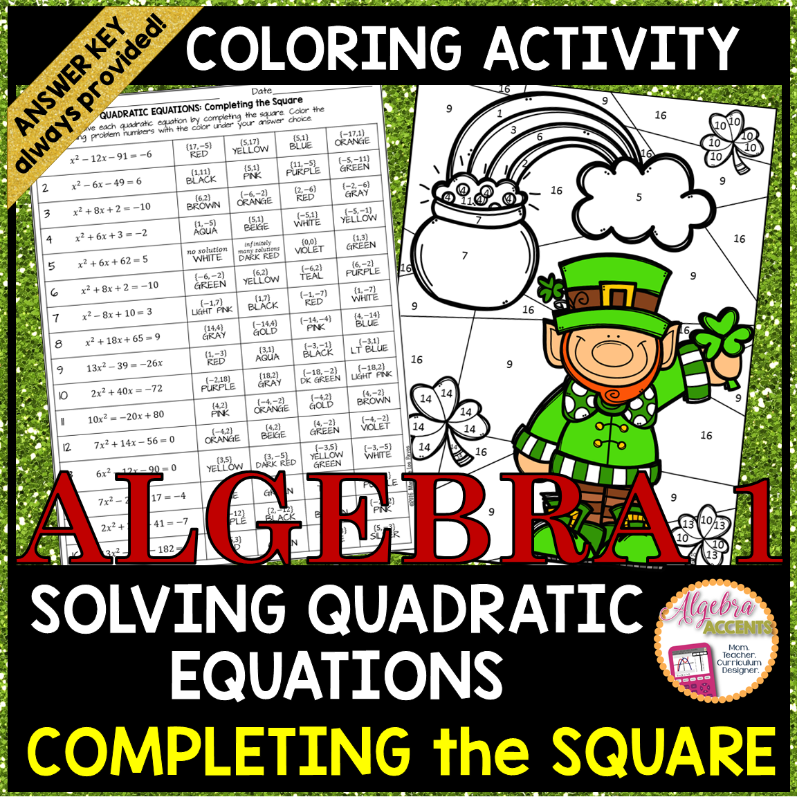 Solving Quadratic Equations Bypleting The Square Coloring Activity
