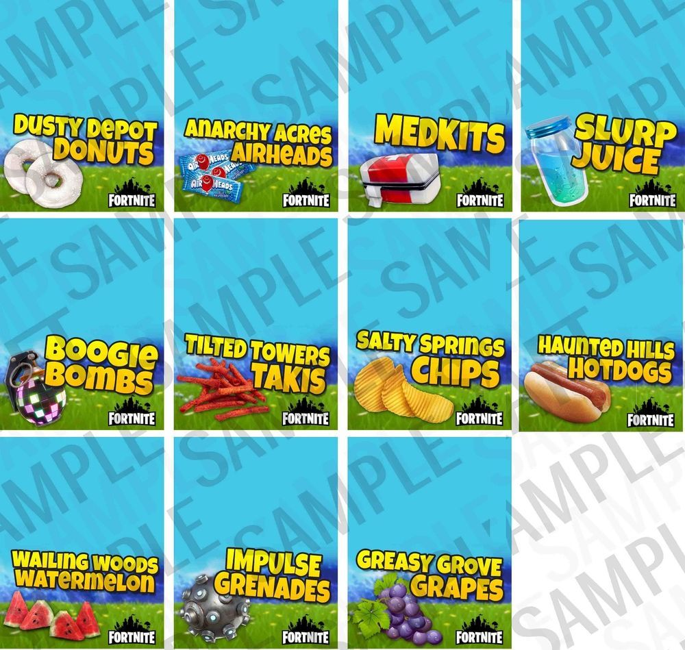 Fortnite Party Cupcake Wrappers And Food Labels Birthday Supplies Digital Files Party Food Labels Birthday Party Food Pool Birthday Party