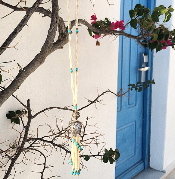 Our Vanessa Mooney Moll Turquoise Necklace hangs out in Mykonos.