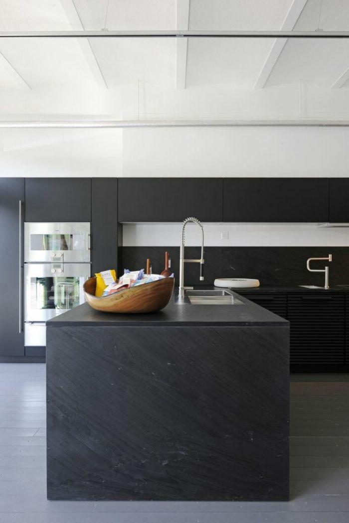 Moderne Küchen Schwarz Matt Für Die Küchenmöbel Und Hellgrauer