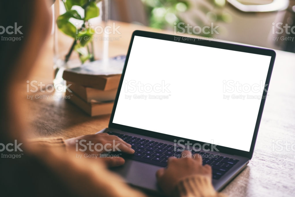 Mockup Image Of A Woman Using And Typing On Laptop With Blank White In 2020 Stock Images Free Image Blank White