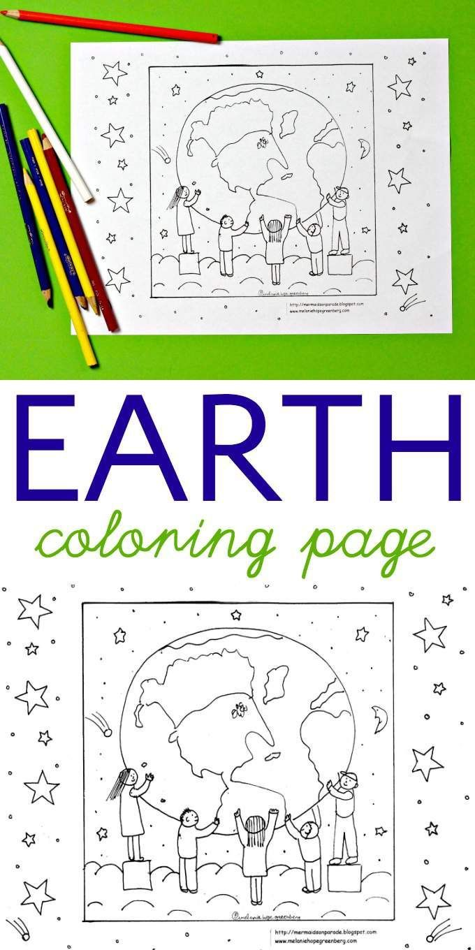 Environmental coloring activities - Children Holding Up The Earth Coloring Page