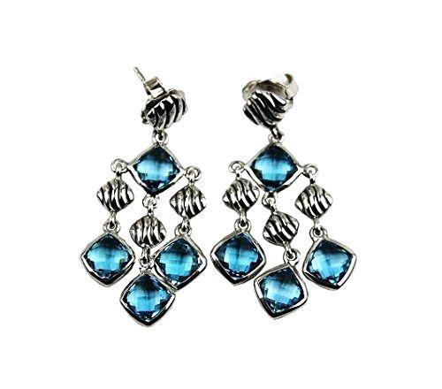 Unique David Yurman Blue Topaz Sterling Silver Chandelier Earrings S