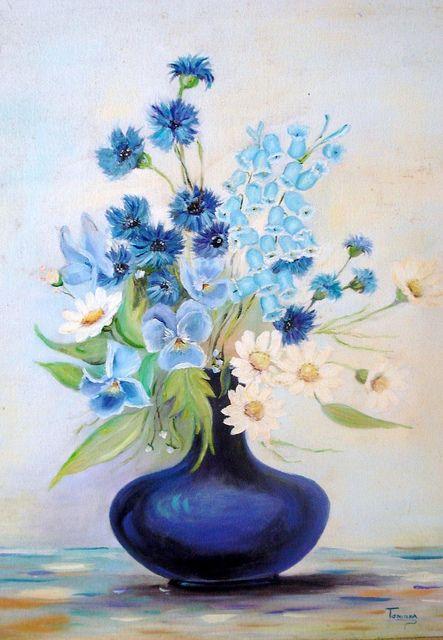Vaso Azul Flower Painting Flower Art Floral Art