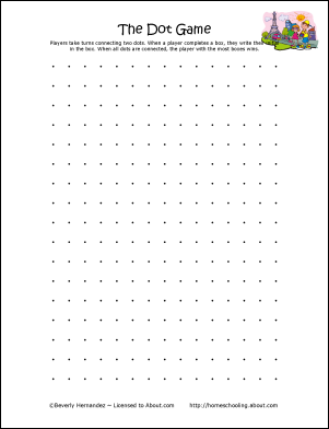 Modest image inside dots and boxes printable