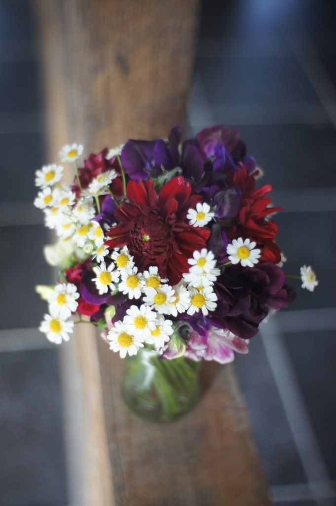 Burgundy and dark purples with feverfew here and there :)