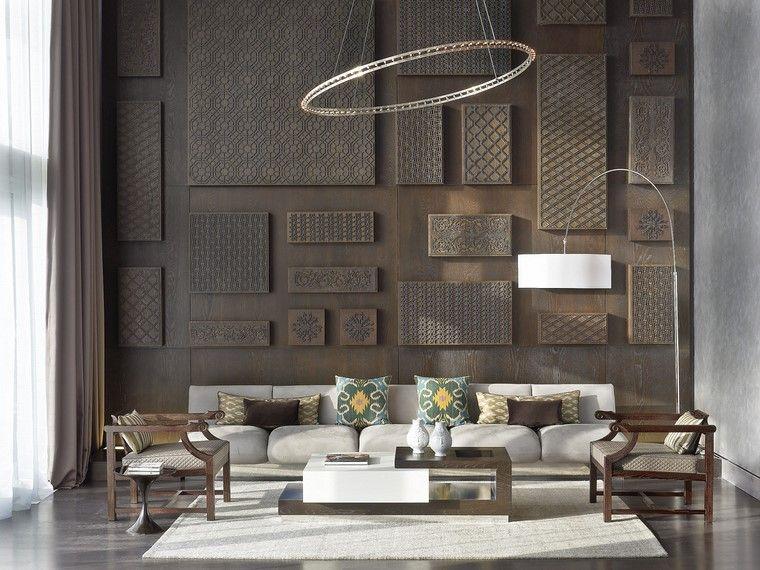 Lampadari moderni soggiorno divano colore beige tavolino dislivelli