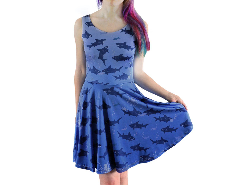 Shark Attack Dress - Size 6 to 20 - Blue Skater Dress - Shark Dress - afba8a12b