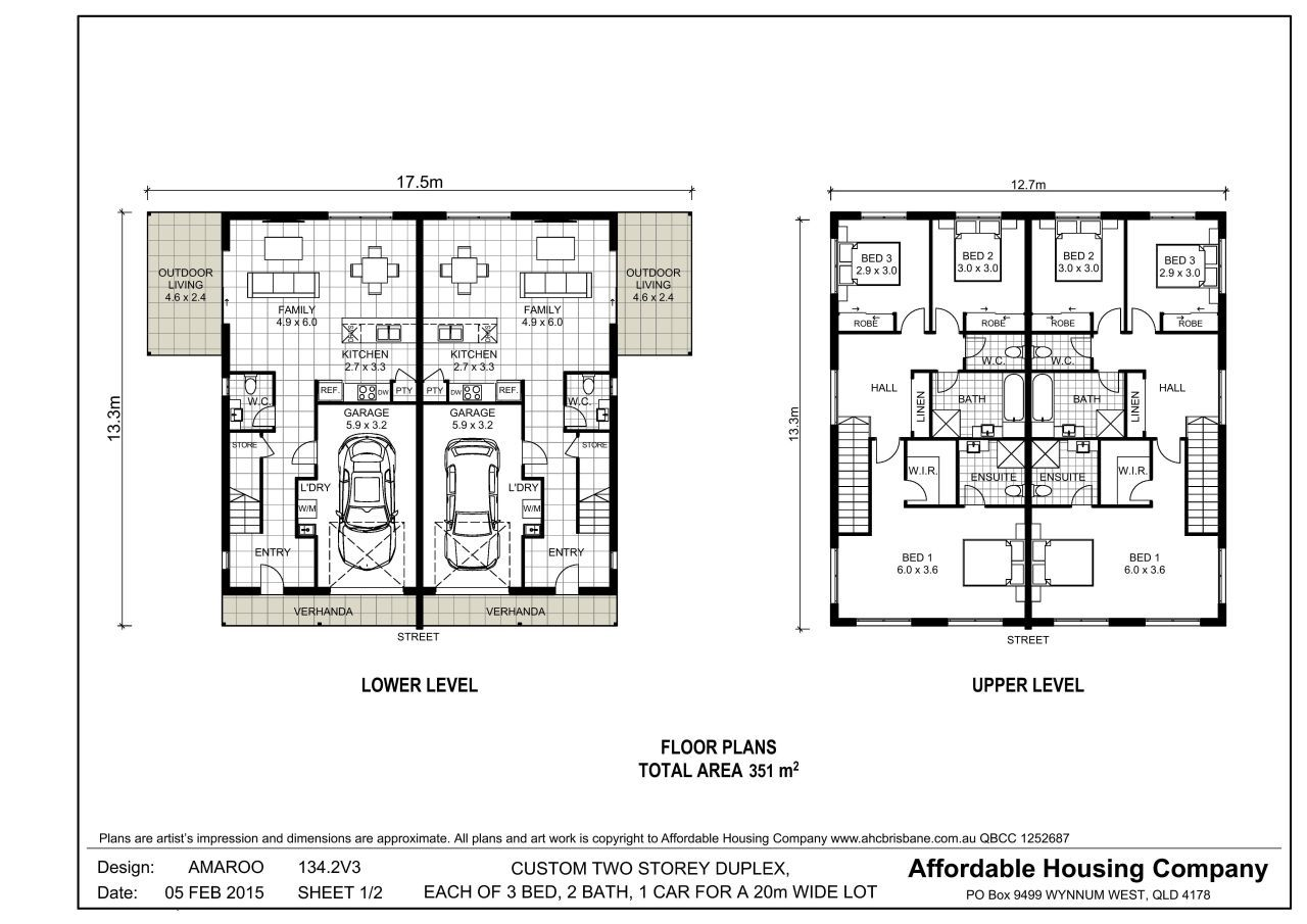 134 2v3 amaroo duplex floor plan by ahc brisbane home for Back to back duplex house plans