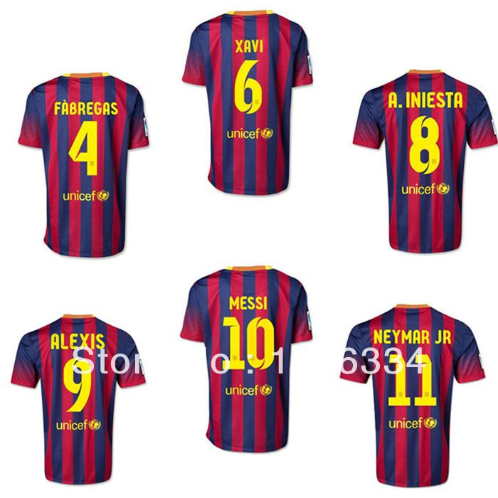85e710cfb 13 14 barca Best Thailand Quality Youth Player Version Soccer Jersey MESSI  NEYMAR JR INIESTA ALEXIS