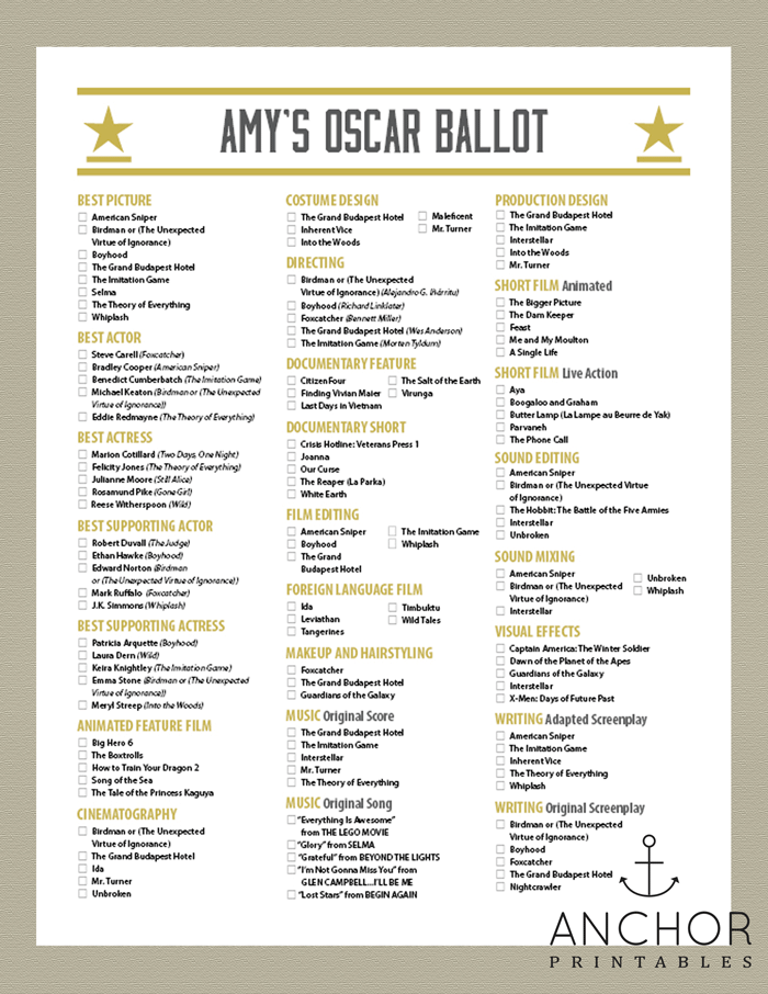 picture relating to Oscar Ballots Printable identify 2015 Awards Evening Ballot - Gold Digital camera - Anchor Printables