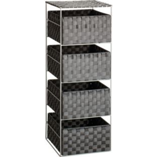 Buy ColourMatch 4 Drawer Wide Woven Storage Unit - Jet Black at Argos.co.uk - Your Online Shop for Bathroom shelves and units.