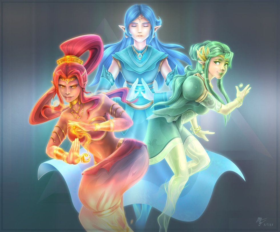The Legend of Zelda - The three goddesses, Din, Nayru, and Farore by