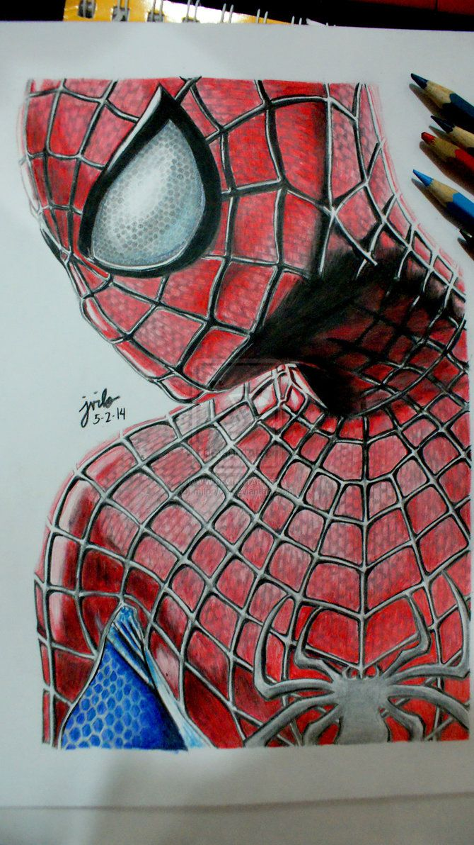 the amazing spider man 2 color pencil drawing by mjforyou on