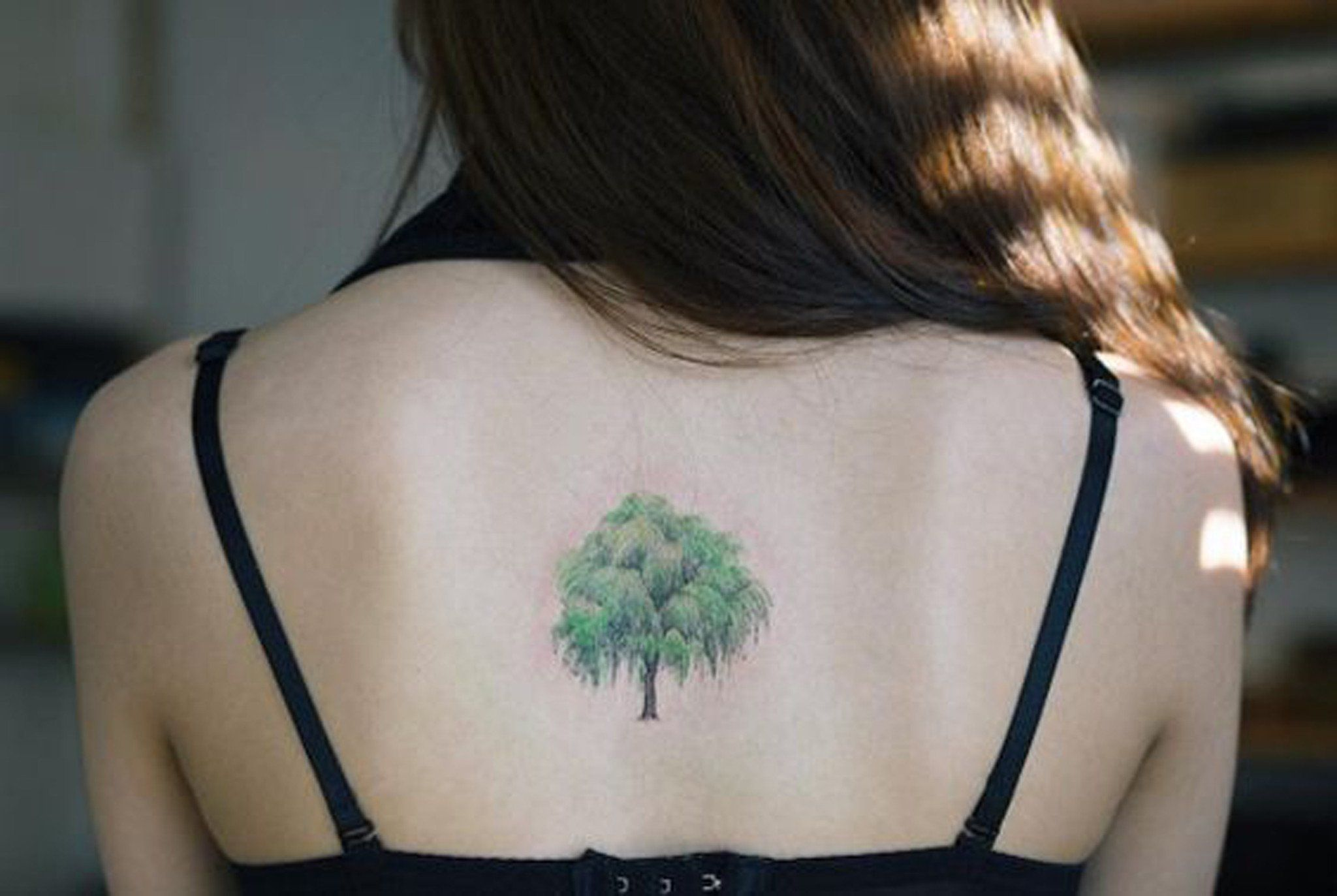 Realistic Green Willow Tree Nature Tattoo Ideas For Women At