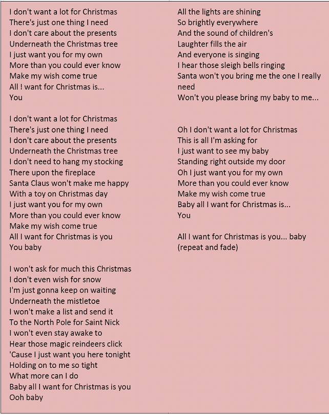 All I Want For Christmas Is You Lyrics Christmas Songs Lyrics Christmas Lyrics Christmas Carols Lyrics