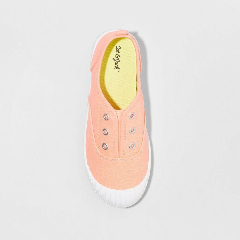 Cat /& Jack Black /& White Girls Mandy Canvas Slip-On Sneakers