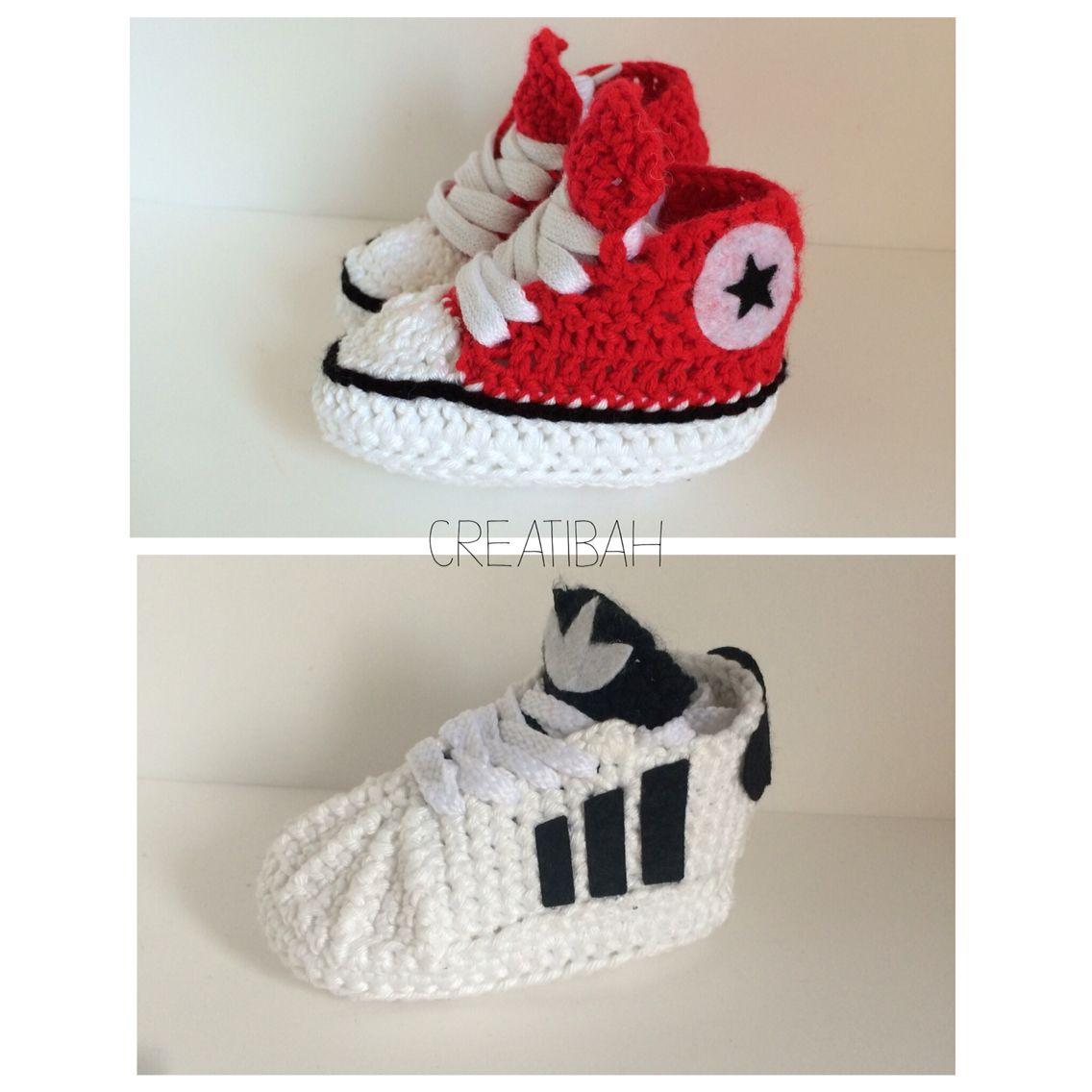 f8a7b8b65728 Patucos en crochet para bebés  patucos  crochet  ganchillo  handmade  bebes   baby  shoes  adidas  converse  babyfashion