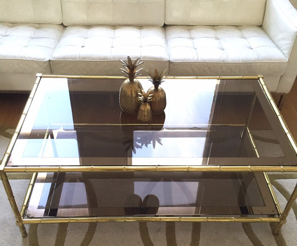 hollywood regency mid century 70s brass gold bamboo glass table