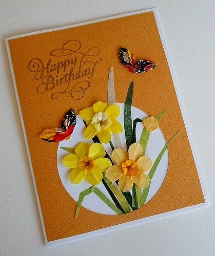 Paper greeting card 3 photos origami dogwood flower and bird 113 paper greeting card 3 photos origami daffodils and butterflies 389 bookmarktalkfo Image collections