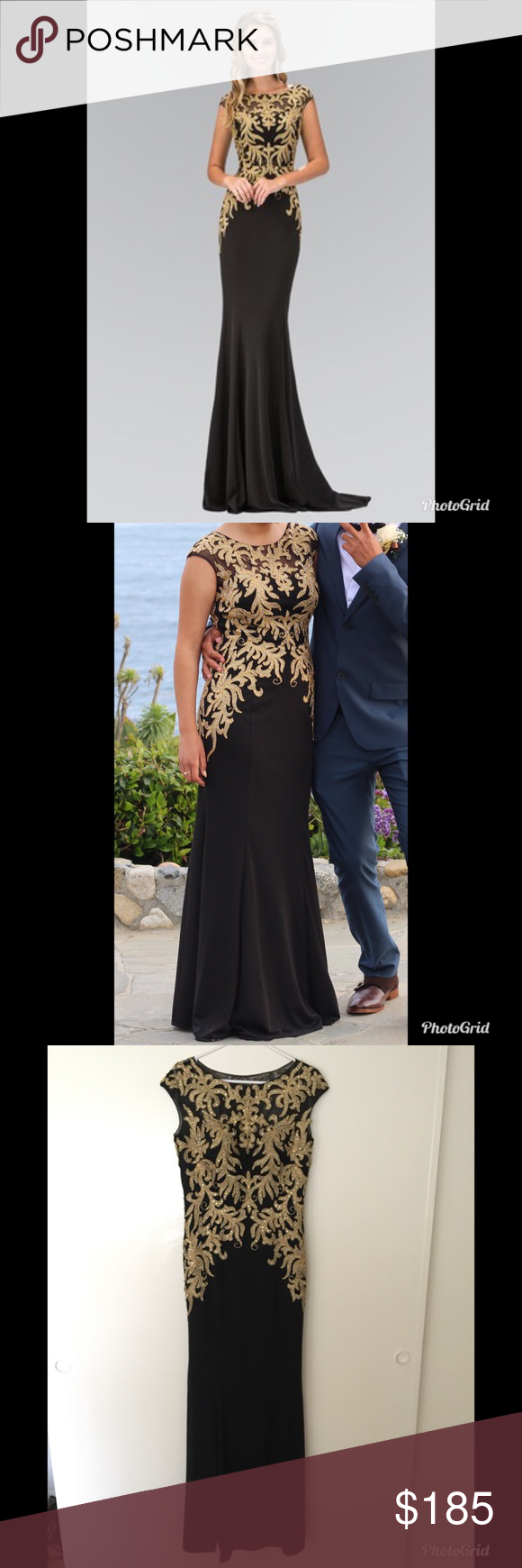 Black and gold prom dress gold prom dresses mesh material and