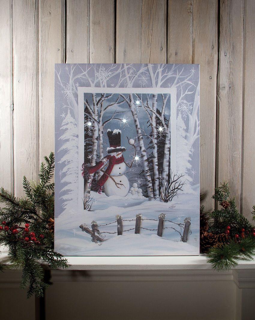Radiance Lighted Canvas Snowball Snowman Radiance Lighted Canvas Lighted Canvas Art Light Up Canvas