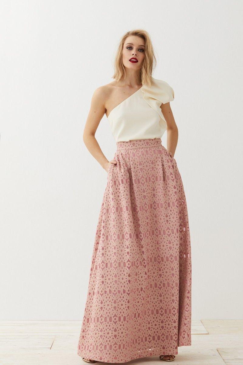Falda larga brocada rosa Cadie | Vestidos de fiesta, Faldas largas y ...