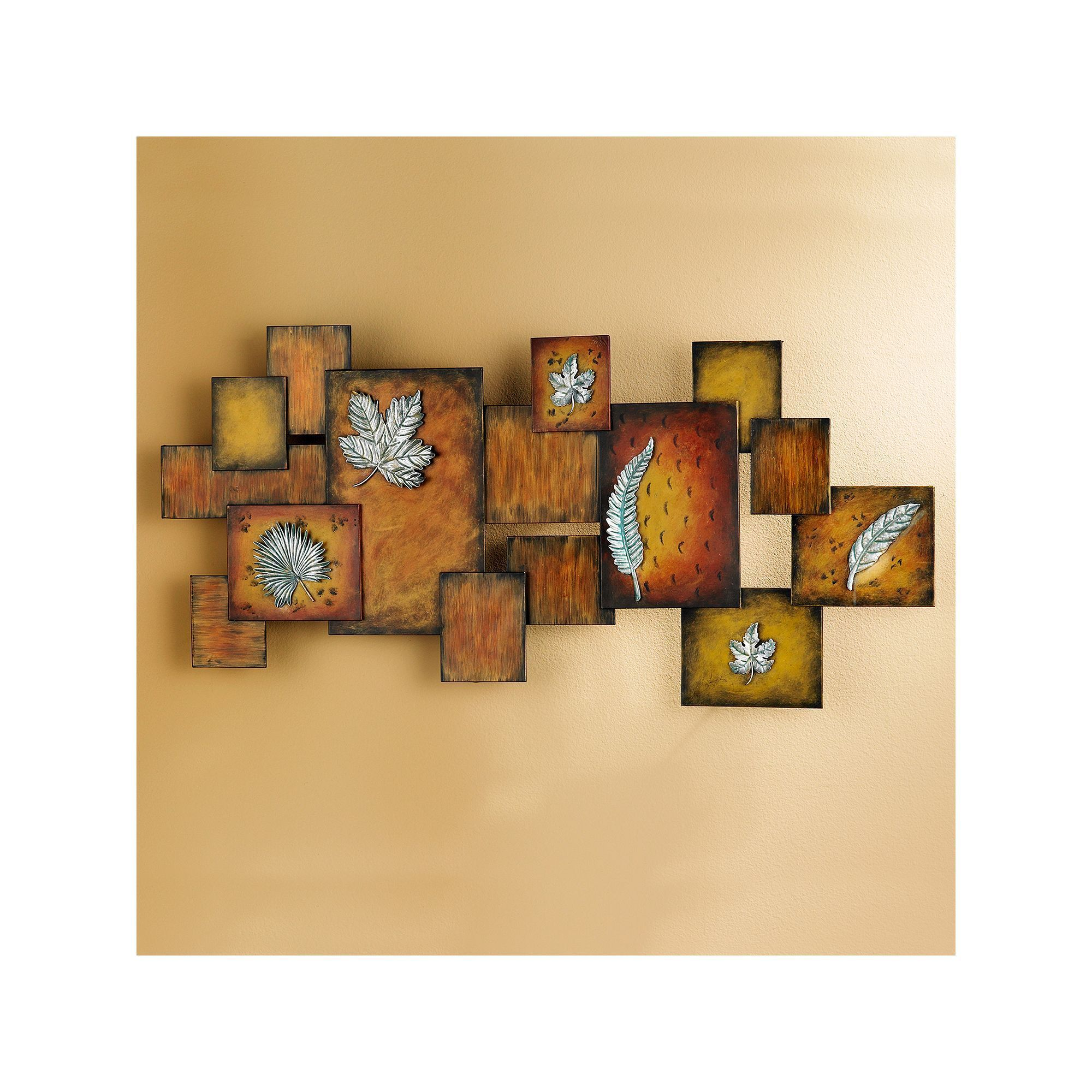 Lincoln Embossed Leaf Metal Wall Decor Panel, Orange | Metal walls ...