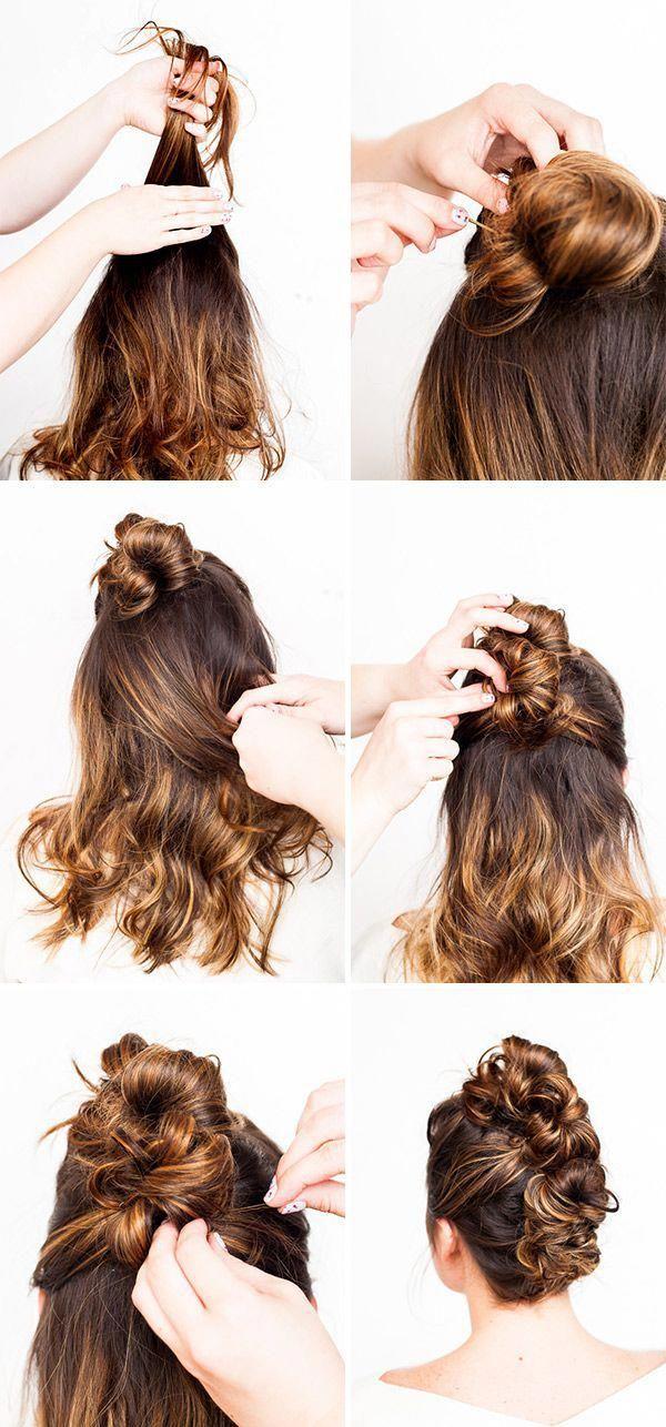 Tutorial de cabello // Con este Messy Bun Faux Hawk (2 maneras) Día a día …
