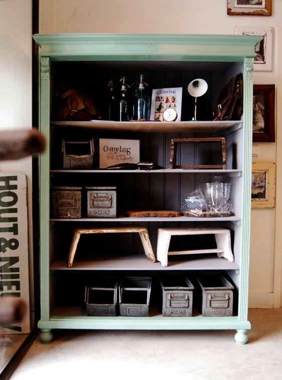 Groene Open Kast Oude Industriele Vintage Brocante Antiek