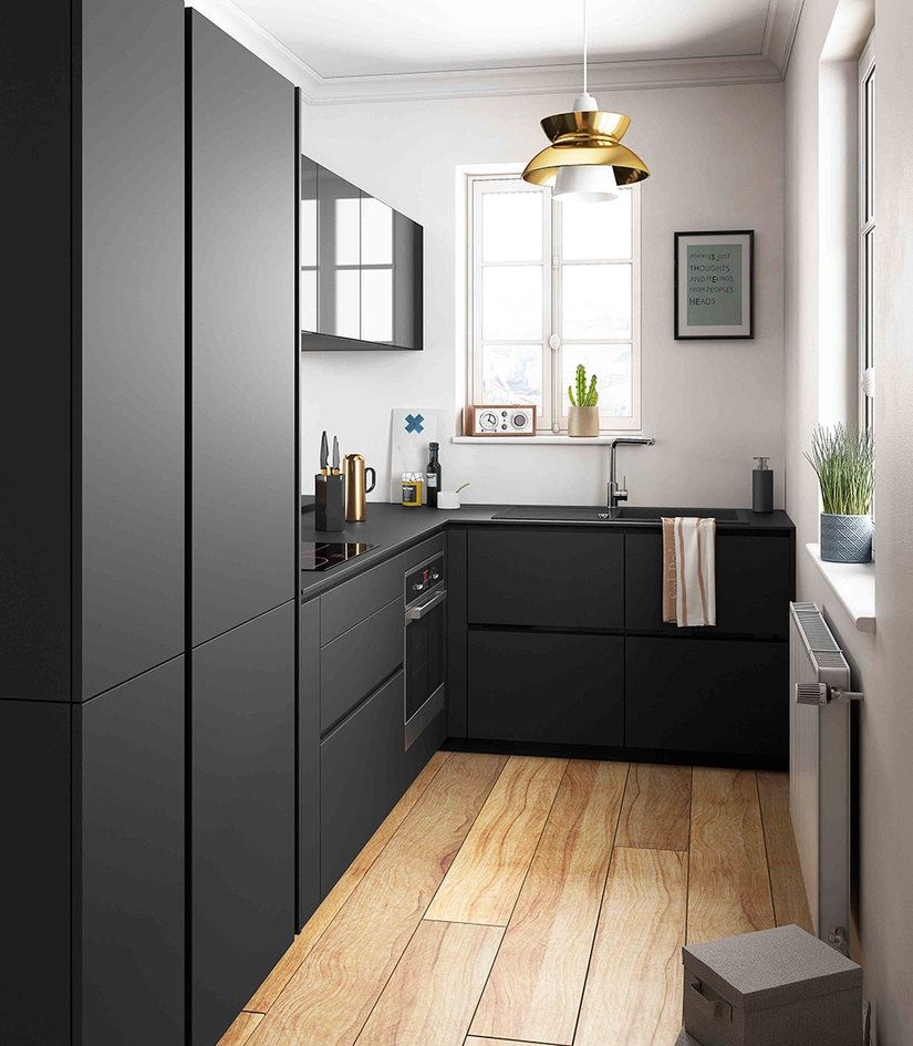 petite cuisine ouverte noir bois bar ambiance retro