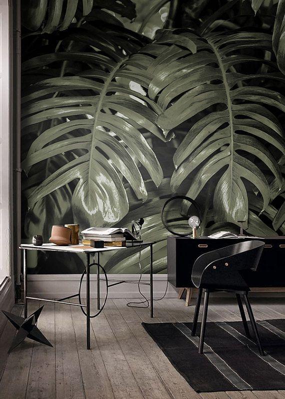 monstera feuille tropique papier peint d cor d cor industriel feuilles de bananier. Black Bedroom Furniture Sets. Home Design Ideas